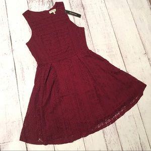 Monteau Burgundy Red Lace Dress Medium Skater
